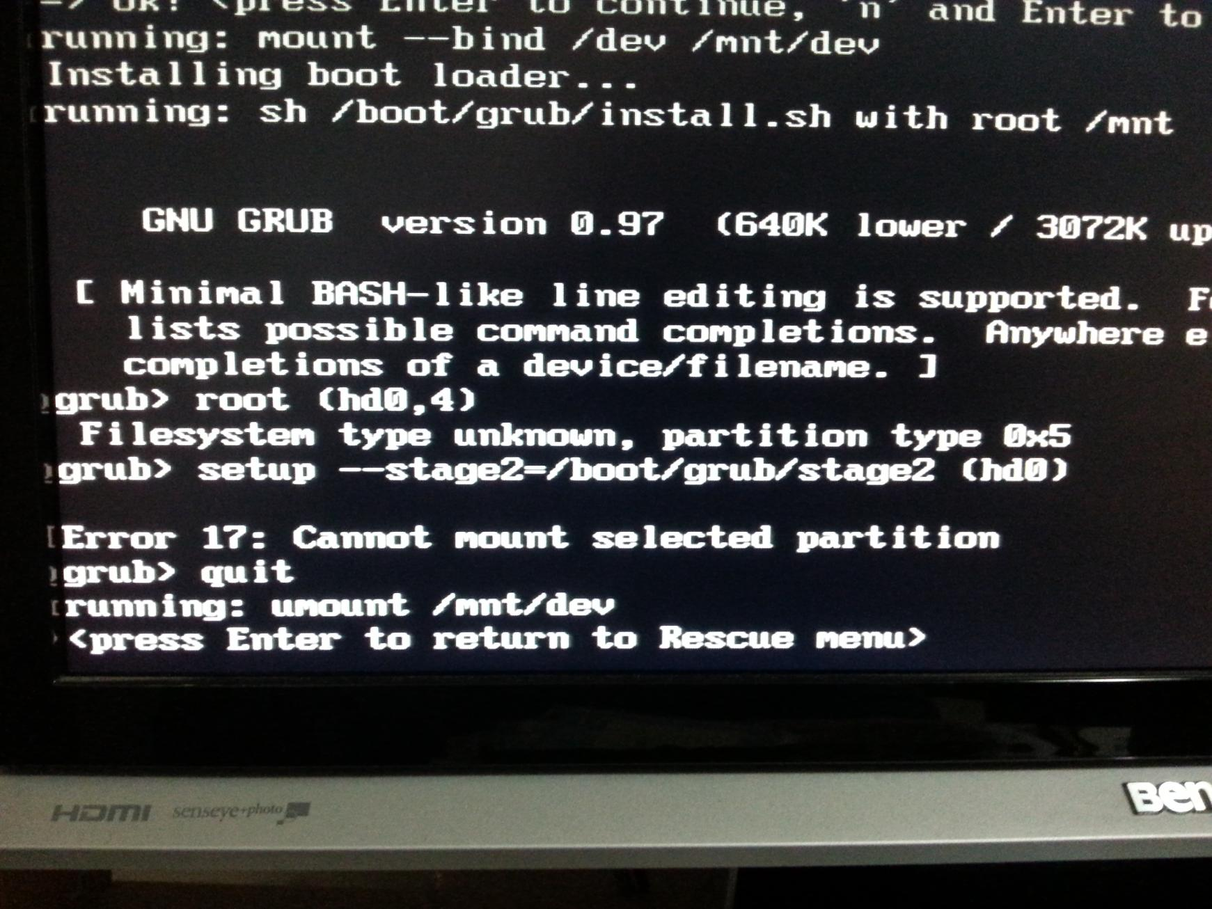 Click image for larger version  Name:GRUB Error Code 17 - Cannot mount selected partition.jpg Views:89 Size:252.0 KB ID:18299